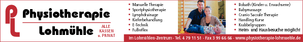 Anzeige Physiotherapie Lohmühle - Bobath, Kinder + Erwachsene