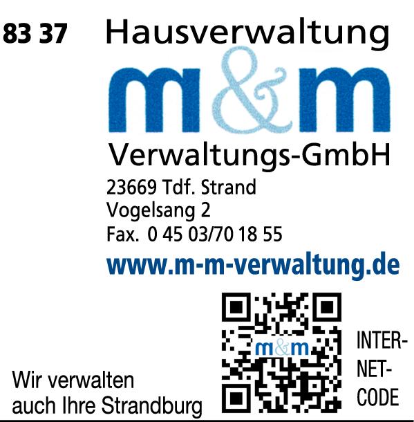 Anzeige M + M Verwaltungs GmbH Haus- u. Grundstücksverwaltung