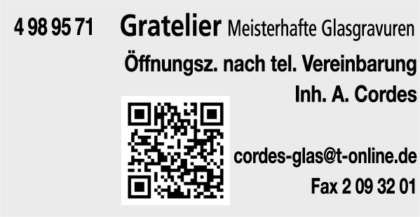 Anzeige Gratelier A. Cordes Glasgravuren
