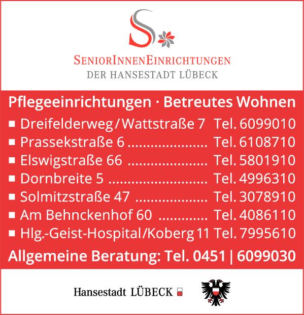 Anzeige Senioreneinrichtungen der Hansestadt Lübeck , Allgemeine Beratung