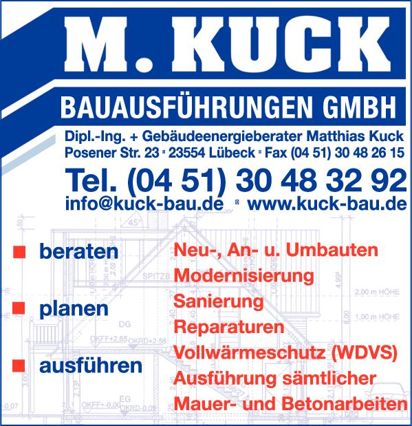 Anzeige Baugeschäft Matthias Kuck Bauausführungen