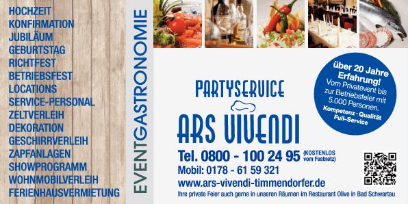 Anzeige Ars Vivendi Partyservice