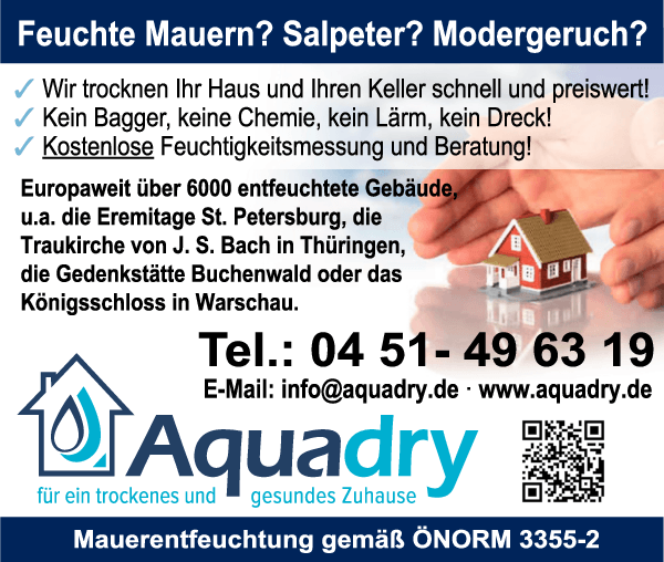 Anzeige Aquadry Mauerentfeuchtung