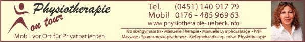 Anzeige Physiotherapie on tour Mobile Physiotherapie