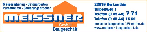 Anzeige Baugeschäft Meissner GmbH