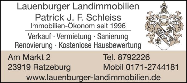 Anzeige Lauenburger Landimmobilien Patrick J.F. Schleiss