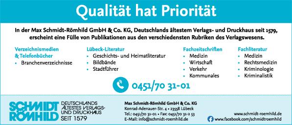 Anzeige Max Schmidt-Römhild GmbH & Co. KG Verlags- und Druckhaus