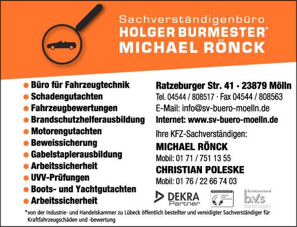 Anzeige Sachverständigenbüro Holger Burmester & Michael Rönck