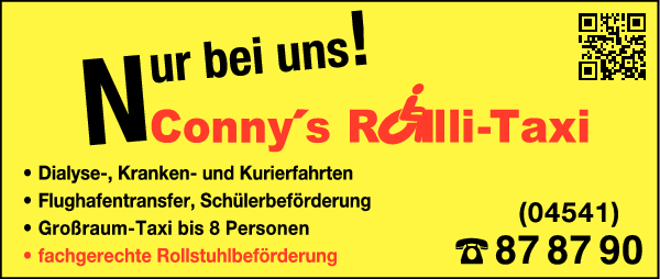 Anzeige Connys Taxi Mietwagen und Rollitaxi
