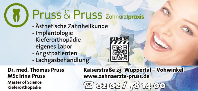 Anzeige Pruss Thomas, Dr. med. u. Pruss Irina MSc