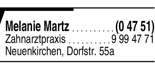 Anzeige Zahnarztpraxis Catharinenlehn Melanie Martz