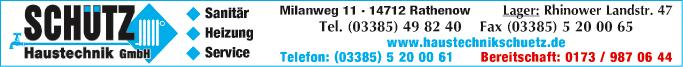 Anzeige Heizung & Sanitär Schütz Haustechnik GmbH