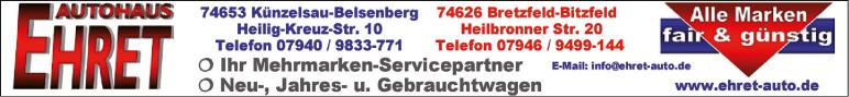 Anzeige Autohaus Ehret GmbH