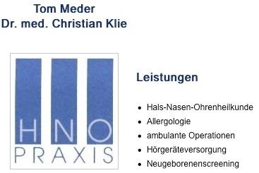 HNO-Ärzte Neuer Mohnhof Tom Meder / Dr. med. Christian Klie