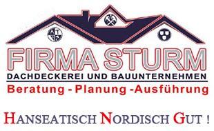 """Logo von Dachdeckerei & Bauunternehmen Sturm """"Ihr Fachmann in Sachen Dach Neubau & Altbau! Wir vom Hamburger Meisterbetrieb Sturm bieten Ihnen ein großes Leistungsspektrum nach höchstem Qualitätsstandard des Deutschen Handwerks."""""""