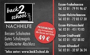Logo von back2school Nachhilfe Essen-Altendorf